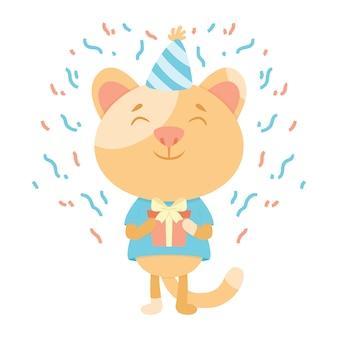Cartão de aniversário com um gato.