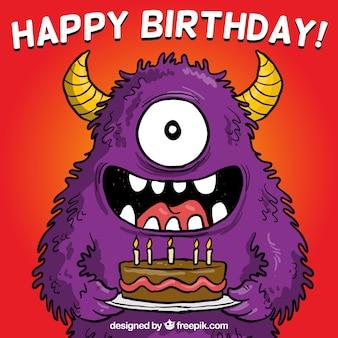 Cartão de aniversário com um monstro