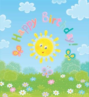 Cartão de aniversário com um sol amarelo sorridente e simpático e borboletas coloridas