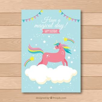 Cartão de aniversário com um unicórnio vermelho