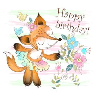Cartão de aniversário com uma fofa raposa com flores.