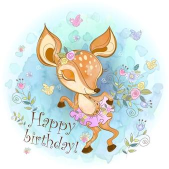 Cartão de aniversário com uma jovem corça bonita