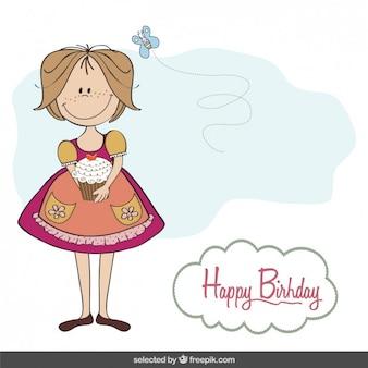 Cartão de aniversário com uma menina e um queque