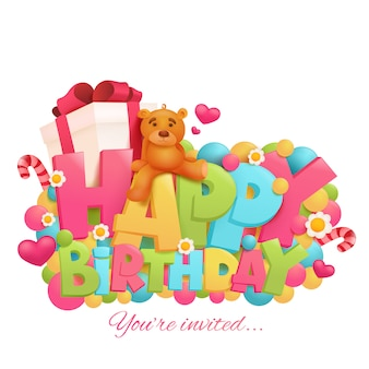 Cartão de aniversário com ursinho de pelúcia e caixa de presente.