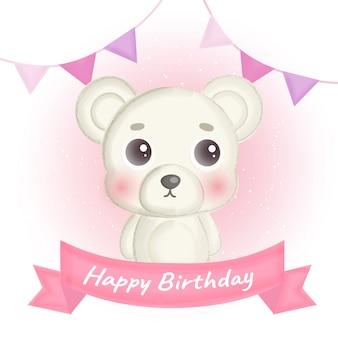 Cartão de aniversário com urso branco fofo