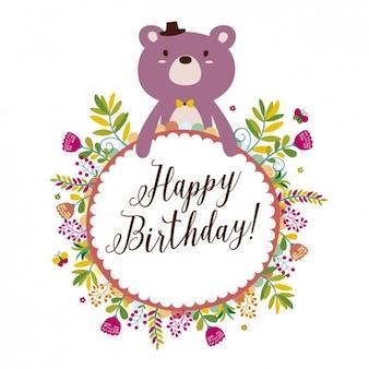 Cartão de aniversário com urso e flores