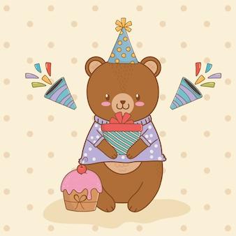 Cartão de aniversário com urso fofo floresta de pelúcia
