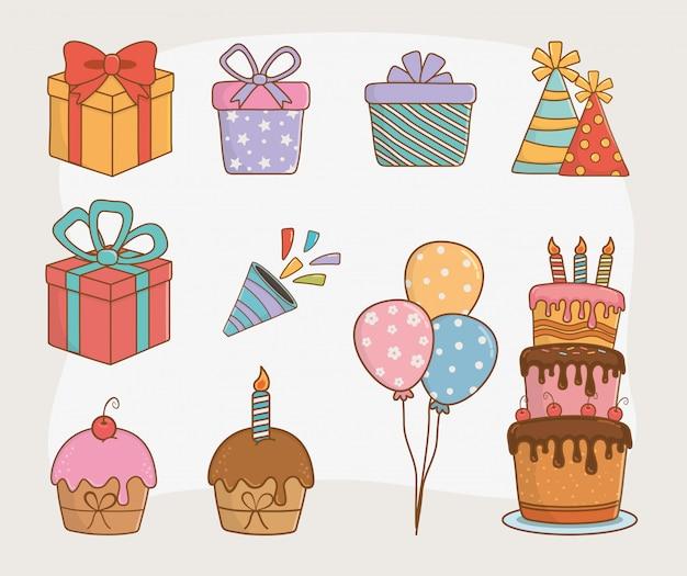 Cartão de aniversário conjunto de ícones