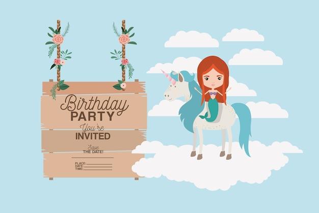 Cartão de aniversário convidada com unicórnio e sereia