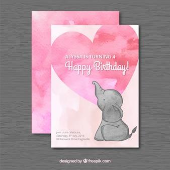 Cartão de aniversário da aguarela com um elefante