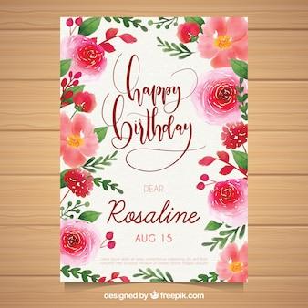 Cartão de aniversário de aguarela com flores