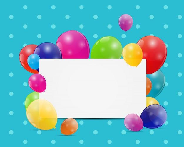 Cartão de aniversário de balões brilhantes