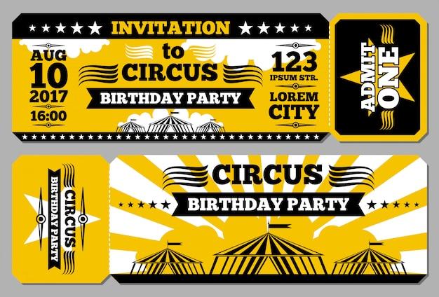 Cartão de aniversário de bilhete de circo