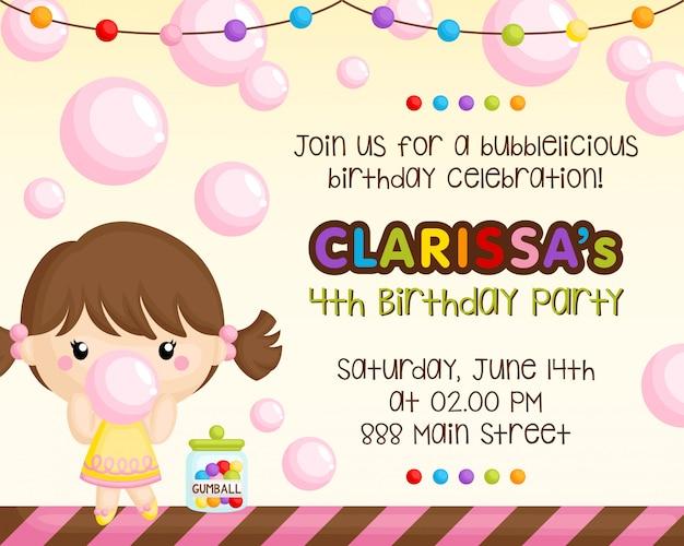 Cartão de aniversário de bubblegum