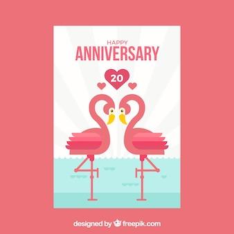 Cartão de aniversário de casamento com casal de flamingo
