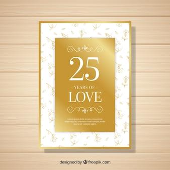 Cartão de aniversário de casamento com flores em estilo dourado