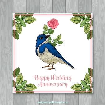 Cartão de aniversário de casamento com flores na mão desenhada estilo