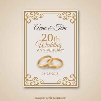 Cartão de aniversário de casamento com ornamentos de ouro