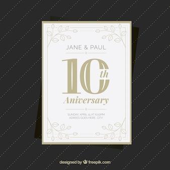 Cartão de aniversário de casamento com ornamentos