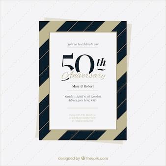 Cartão de aniversário de casamento com padrão de linhas