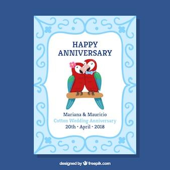 Cartão de aniversário de casamento com pássaros bonitos
