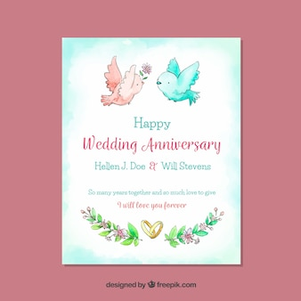 Cartão de aniversário de casamento com pássaros de aquarela