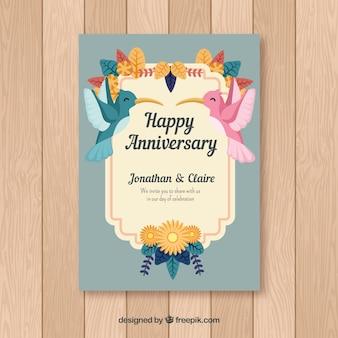 Cartão de aniversário de casamento com pássaros