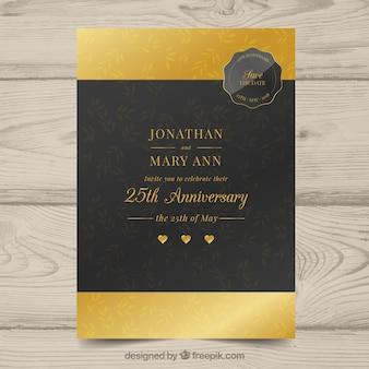 Cartão de aniversário de casamento em estilo dourado