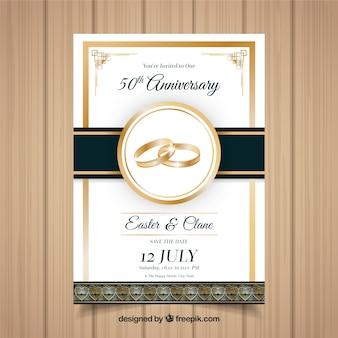 Cartão de aniversário de casamento em estilo realista