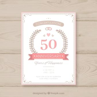 Cartão de aniversário de casamento em estilo simples