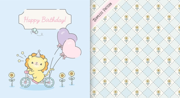Cartão de aniversário de criança kawaii fofo e padrão sem emenda