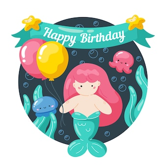 Cartão de aniversário de crianças com pequena sereia e vida marinha