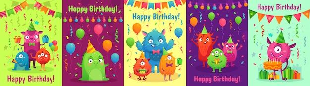 Cartão de aniversário de monstro. monstros com presentes de feliz aniversário, convite para festa de crianças e conjunto de desenhos animados de monstro amigável