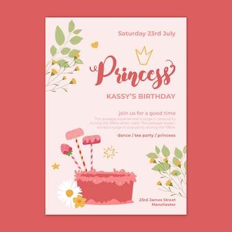 Cartão de aniversário de princesa infantil