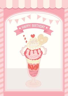 Cartão de aniversário de sorvete rosa