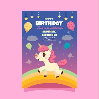 Cartão de aniversário de unicórnio infantil
