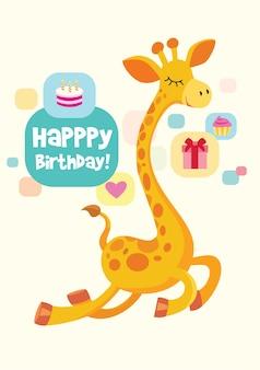 Cartão de aniversário de vetor com girafa fofa