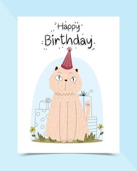 Cartão de aniversário decorado com gatos sentados na grama
