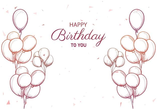 Cartão de aniversário desenhado à mão com balões