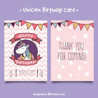 Cartão de aniversário desenhado à mão com rosto de unicórnio