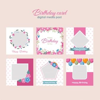 Cartão de aniversário digital media post template