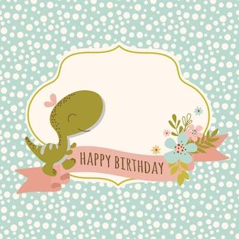 Cartão de aniversário dino desenho plano desenhado à mão estilo grunge animal pré-histórico