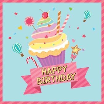 Cartão de aniversário do arco-íris do queque