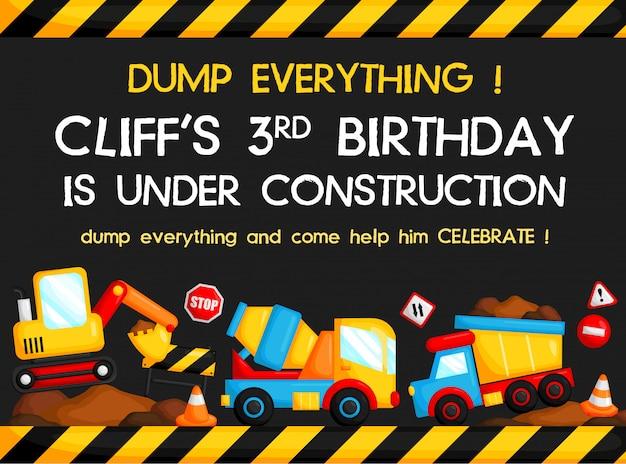 Cartão de aniversário do caminhão da construção