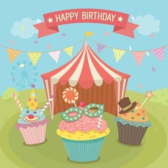 Cartão de aniversário do carnaval dos cupcales