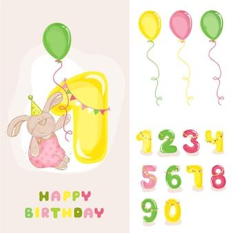 Cartão de aniversário do coelhinho do bebê com números