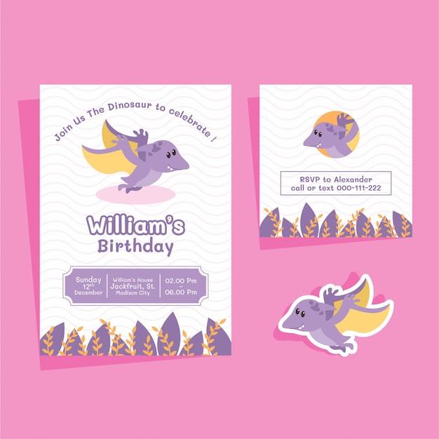 Cartão de aniversário do pterodátilo