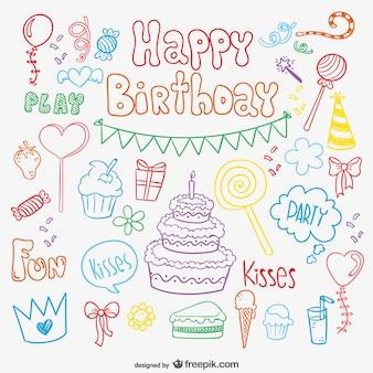 Cartão de aniversário doodle