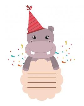 Cartão de aniversário e hipopótamo com festa de chapéu