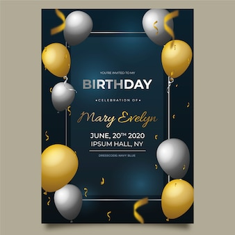 Cartão de aniversário elegante com balões realistas